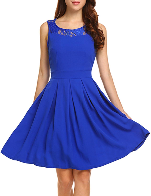 Amazon Com Angvns Women S A Line Cocktail Swing Dress Lace Wedding