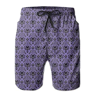 b470b1e676f Amazon.com: Partrest Haunted Mansion Men's Summer Casual Shorts Beachwear  Sports Swimming Short Trunks Quick Dry Swim Trunks: Clothing
