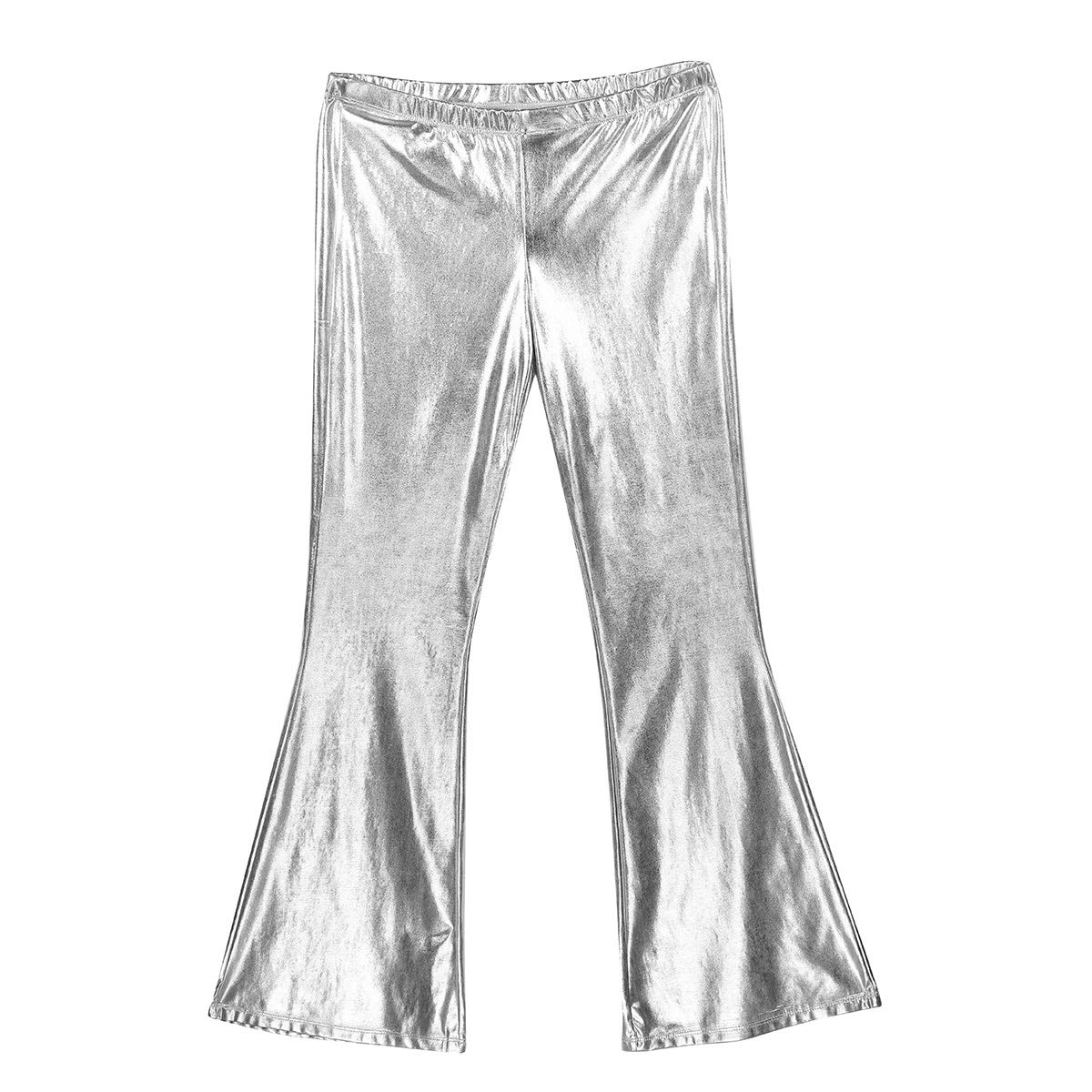 Agoky Mens Wet Look Bell Bottoms Wide Leg Pants 70s Disco Vintage Long Flared Trousers
