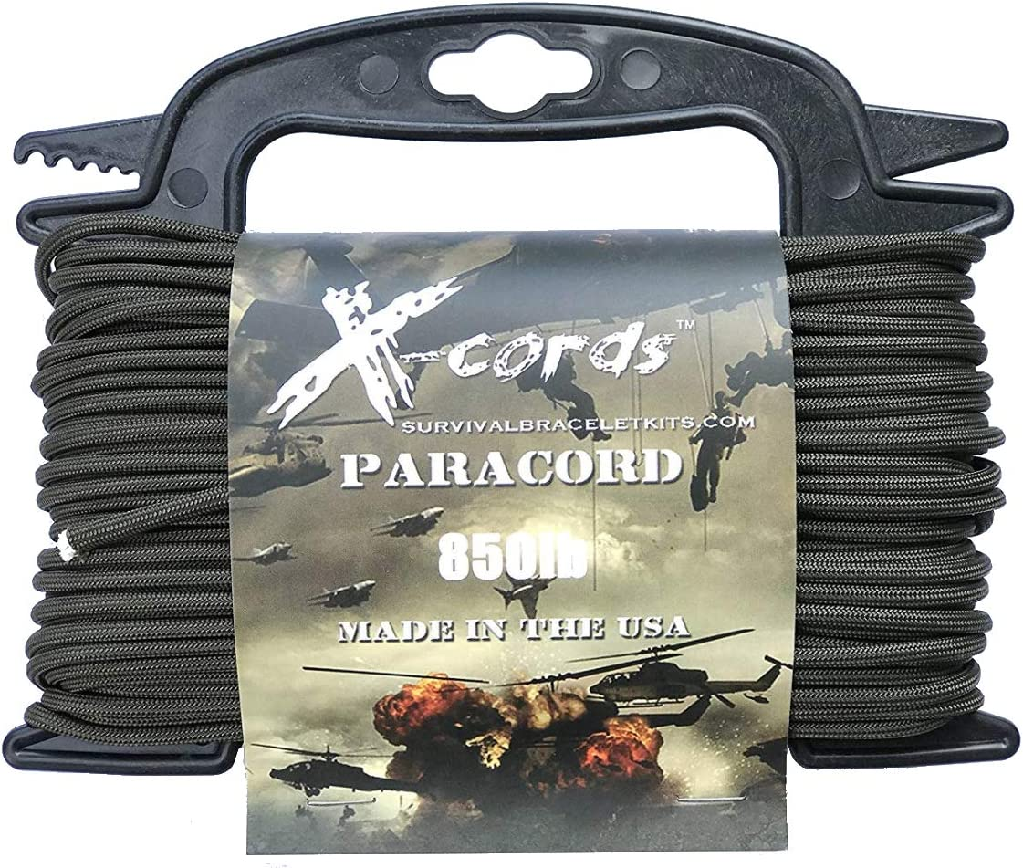 X-CORDS Paracord 850 Lb Stronger Than 550 and 750 Made by Us Government Certified Contractor (100' Olive DRAB ON Spool 850LB)