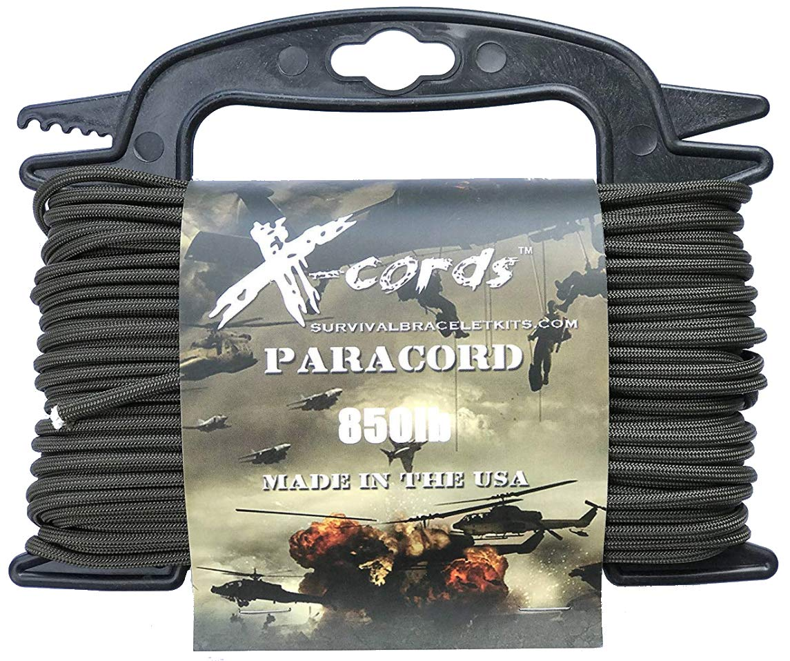 X-CORDS Paracord 850 Lb Stronger Than 550 and 750 Made by Us Government Certified Contractor (100' Olive DRAB ON Spool 850LB) by X-CORDS (Image #1)