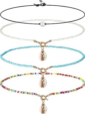 Blulu Gargantilla Collar con Sola Perla Collar con 3 Perlas Choker con Sola Gema/Turquesa y Collar con Turquesa Azul en Cuerda de Cuero para Mujeres Chicas (Perlas y Perlas)