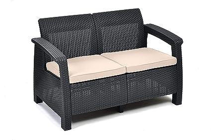 Keter Lounge Sofa Balkon Korfu Graues Lounge Sofa In Rattanoptik Lounge 2 Sitzer