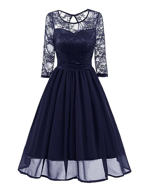 85434394296f Abiti Da Cerimonia Donna Elegante Estivi Pizzo Giuntura Chiffon Anni 50  Vintage Rockabilly A Pieghe Vestito ...