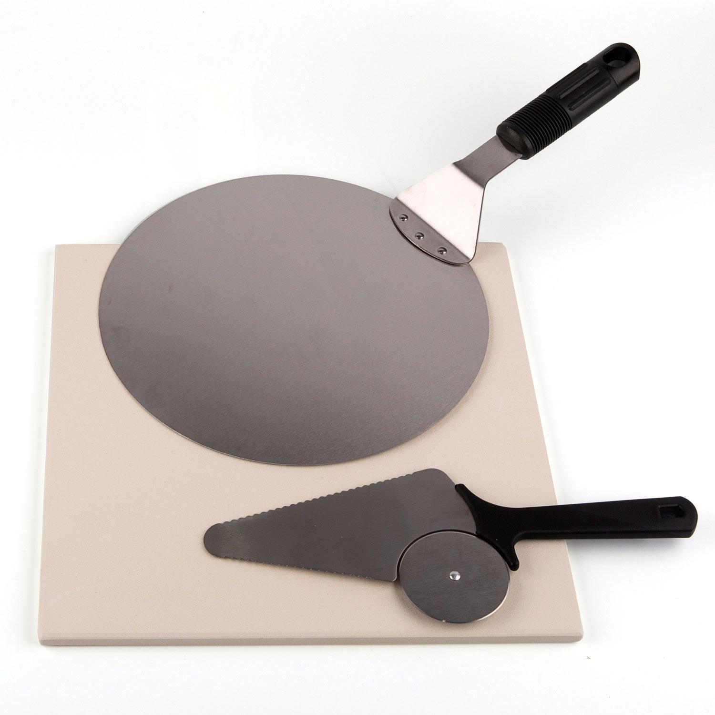 "Waykea Baking Pizza Stone Set, 12"" Square Cordierite Stone + 10"" Stainless Steel Pizza Peel + Pizza Cutter"