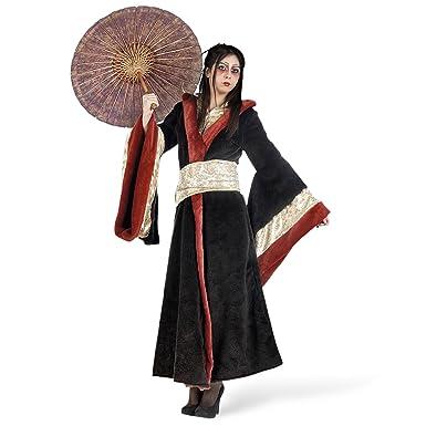 Geisha Mujer traje del kimono de Asia capa roja negro - S ...