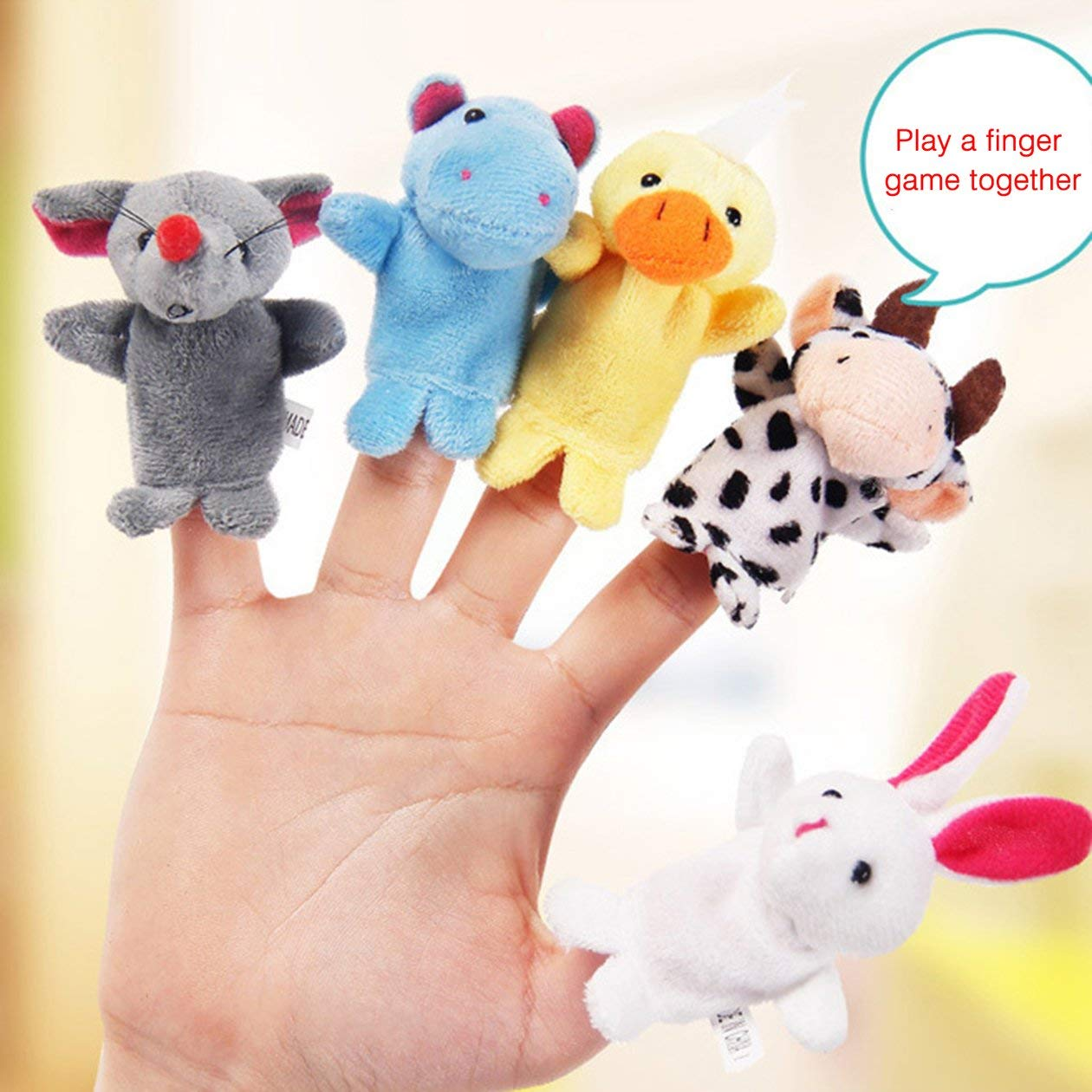BIYI 10PC Funny Baby Plush Toy Animal Finger Puppets Double Layer with Feet Storytelling Props Doll Hand Puppet Kids Toys Kids Gift random