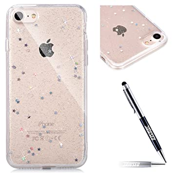 Carcasa iPhone 7 Plus, Funda iPhone 8 Plus, JAWSEU Estrellas Brillo Brillante iPhone 8 Plus Estuche Carcasa Caso Purpurina llamativa Creativa Diseño ...
