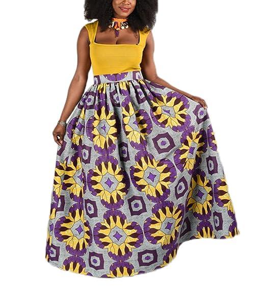 Floral Africana Falda Mujeres Ocasionales de la Falda Acampanada ...