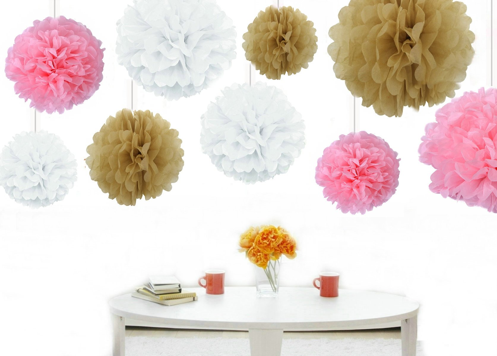 Kubert® 18PCS Mixed 8'' 10'' 14'' Sizes white Pale Pink Tan Brown Party Tissue Paper Flower Pom Poms Wedding Pompoms Garland Birthday Party Baby Room Nursery Decoration