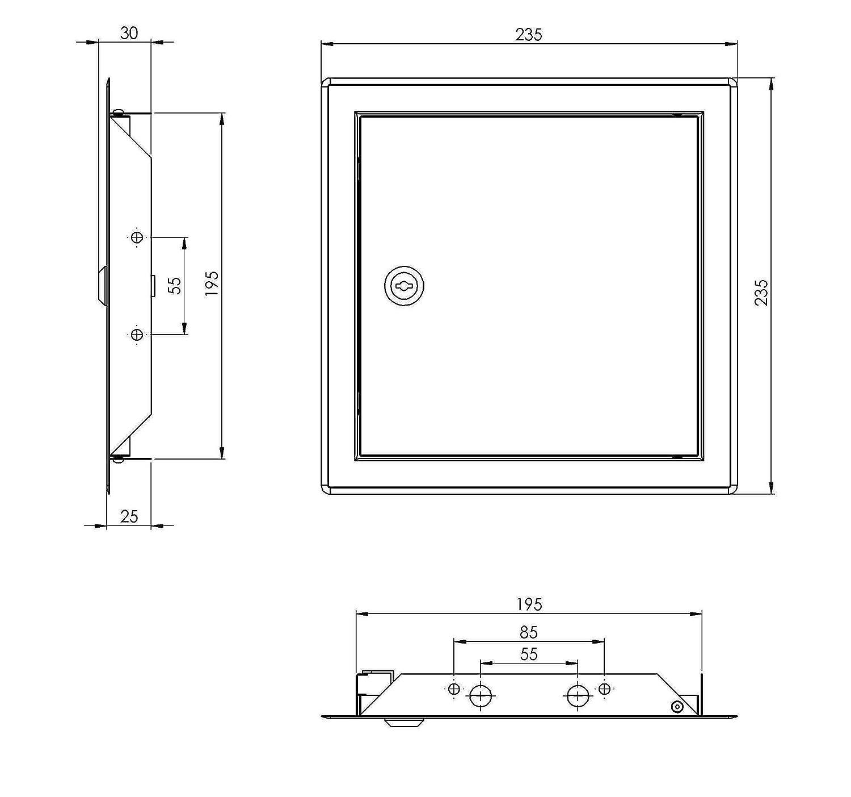 Puerta de inspecci/ón Rlma2020 color blanco 200 x 200 mm, chapa de acero con cerradura, 20 x 20 cm