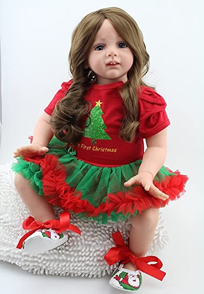 908d960de NPK 24inch Lifelike Christmas Reborn Baby Realistic Soft Silicone Toddler  Girl Dolls Long Hair for Women