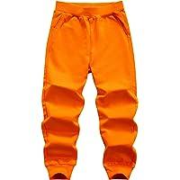 WIYOSHY Pantalones de chándal de algodón de color sólido para niños de 3 a 12 años