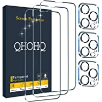 """QHOHQ 3 Pack Screen Protector for iPhone 13 Pro Max 6.7"""" with 3 Packs Camera Lens Protector, Ultra HD Full Screen…"""
