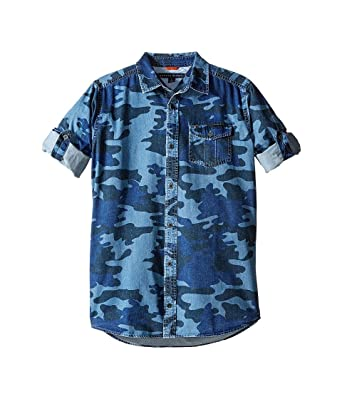 3c8311a5 Tommy Hilfiger Kids Boy's Camo Printed Long Sleeve Shirt (Big Kids) Swim  Navy Button