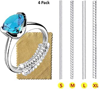 Ring Size Adjuster for Loose Rings Invisible Transparent Silicone Guard Clip Jewelry Tightener Resizer 4 Sizes Fit Almost Any Ring (Pack of 4)