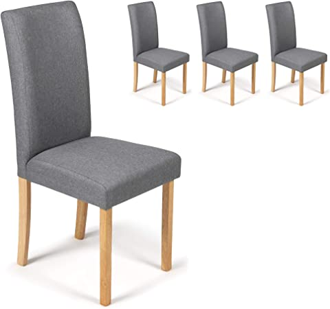 4 Dining Chairs Grey Marl Fabric Torino With Padded Seat & Oak Finish Legs