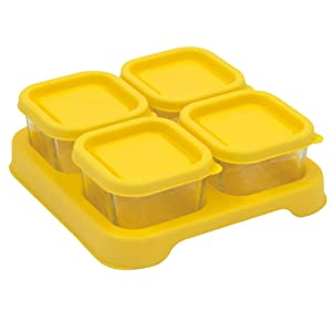 Green Sprouts Reusable Baby Food Glass Containers Freezer Cubes (2oz/4pk)-Yellow