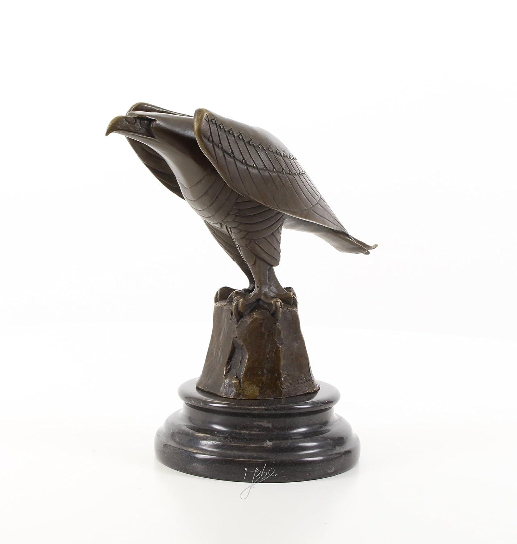 Bronzefigur Skulptur Figur Deko Adler auf Marmorsockel 20,6 cm