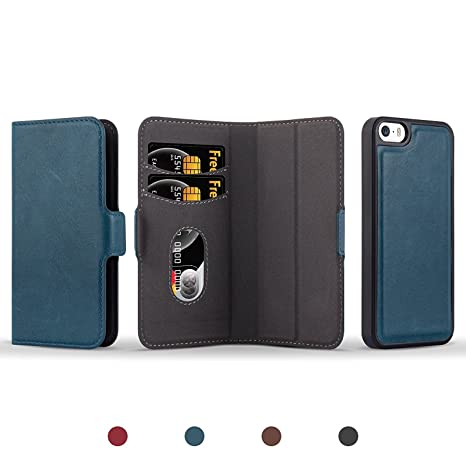 JAMMYLIZARD Funda De Piel para iPhone SE & iPhone 5/5s   Cover Magnética Separable 2 en 1 Tipo Cartera y Carcasa Trasera Wallet Case Trajetero, Verde ...