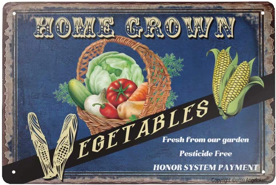 Angeloken Retro Tin Sign Vintage Metal Sign Home Grown Vegetables Fresh from Our Garden Pesticide Free Wall Poster Plaque for Home Kitchen Bar Coffee Shop 12x8 Inch