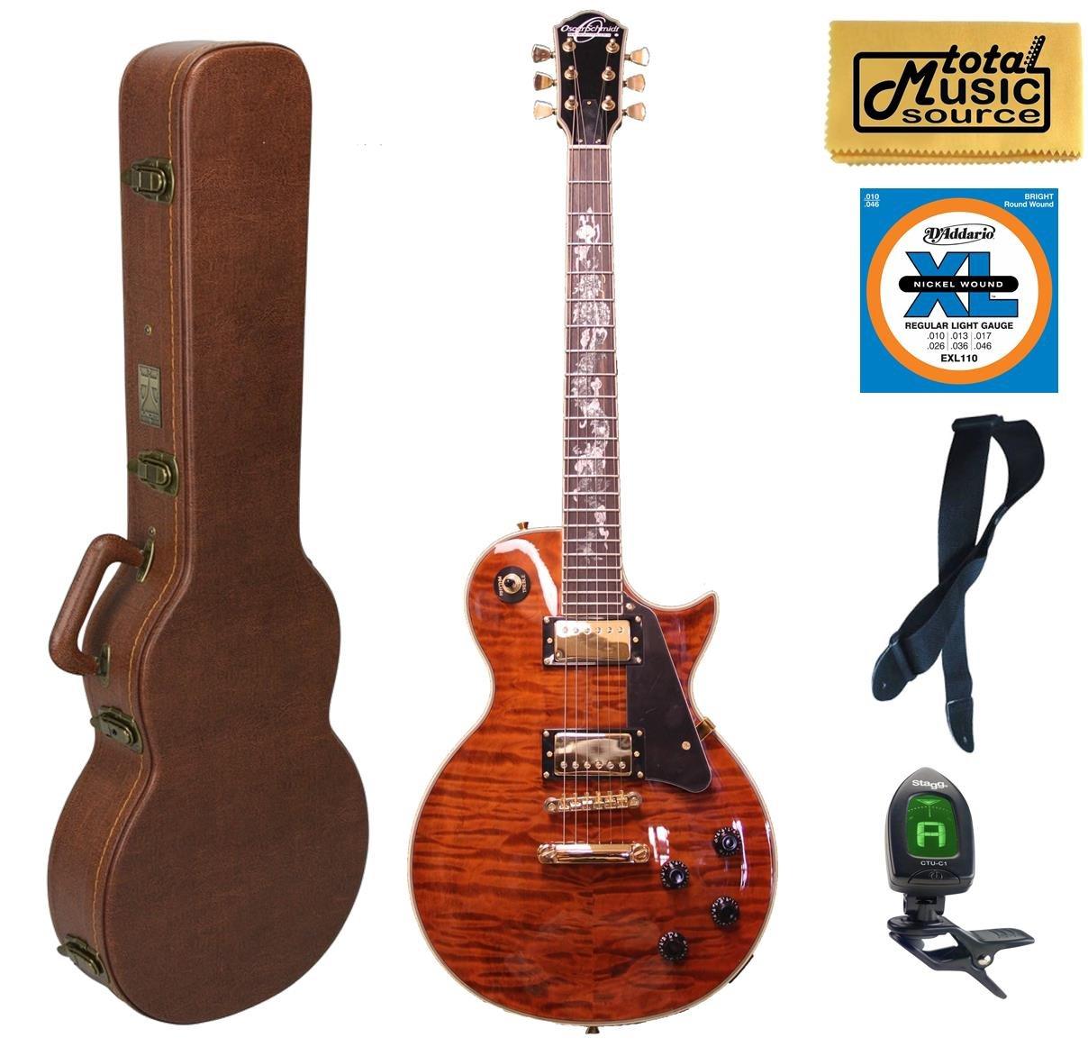 Oscar Schmidt OE20 Electric Guitar, Serpentine Quilted Cali Case Bundle