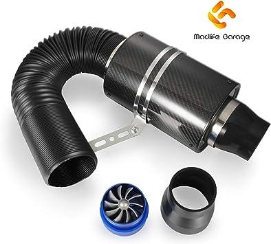 3 Universal Filtro de Aire Fr/ío de Fibra de Carbono del Motor Coche Fuelle de Aire de Alto Flujo Modificado para Autom/óvil Conjunto de Manguera Tuber/ía de Inducci/ón de Ventilaci/ón Cerrado