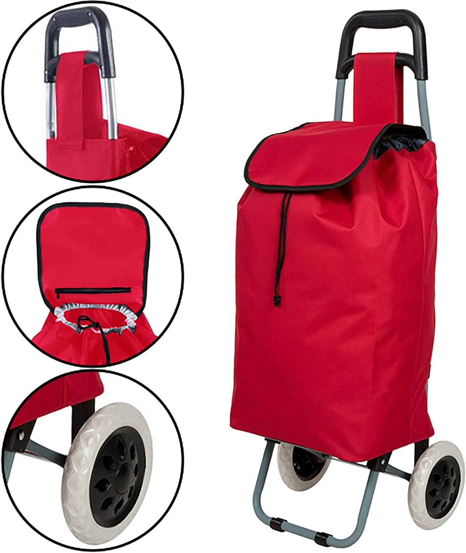 Alaskaprint Einkaufstrolley Einkaufsroller klappbare Einkaufswagen Faltbarer Einkaufsroller Shopping Trolley Roller Einkaufshilfe Einkaufs Trolley Rot