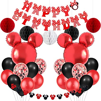 Mickey And Minnie Mouse Party Supplies Red And Black Minnie Mouse Garland Balloons Happy Birthday Banner For Boys Girls Birthday Baby Shower