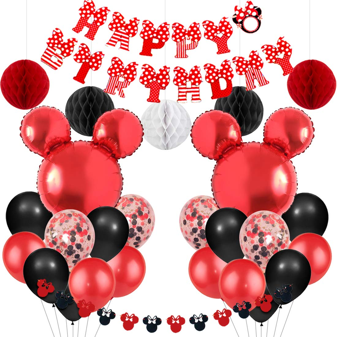 Mickey and Minnie Themed Party Supplies Red and Black Minnie Garland Balloons Happy Birthday Banner for Boys Girls Birthday Baby Shower