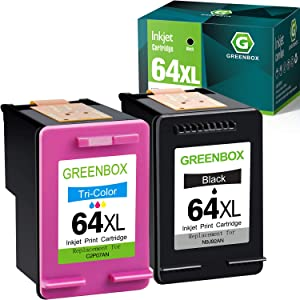 GREENBOX Remanufactured 64 Ink Cartridge Replacement for HP 64XL for HP Envy Photo 7155 7855 6255 7120 6252 6220 6230 6258 7158 7130 7132 7164 7858 Envy 5542 (1 Black 1 Tri-Color)