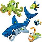 Bloco Toys Marines Creatures   STEM Toy   Shark, Octopus, Piranha, Deep Sea & Tropical Fish   DIY Educational Building…