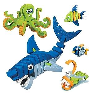 Bloco Toys Marines Creatures | STEM Toy | Shark, Octopus, Piranha, Deep Sea & Tropical Fish | DIY Educational Building Construction Set (235 Pieces)