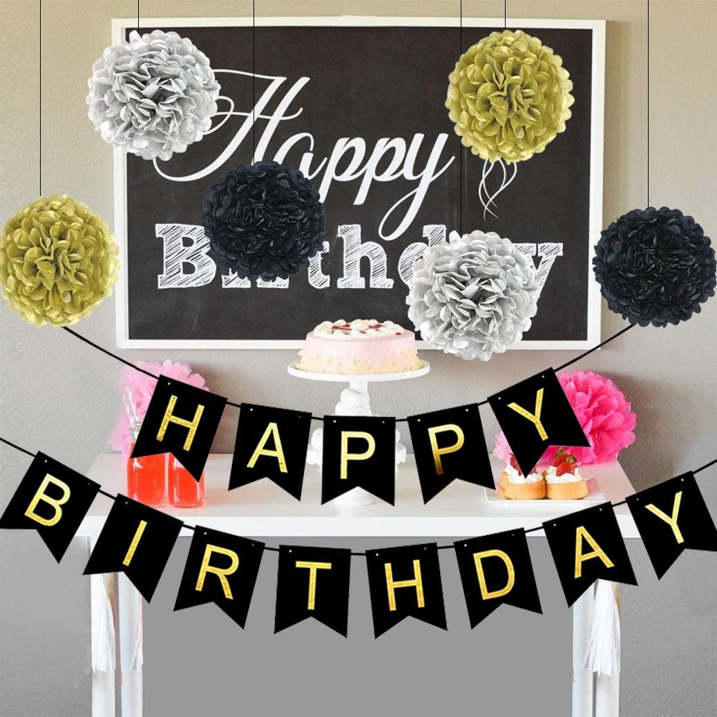40th 70th Birthday Decorations Tissue Paper Pom Poms Silver 30th 60th 21th 50th Tylang Gold Black Birthday Balloons Kits Happy Birthday Banner Party Supplies Favors Decorations for 16th 18th