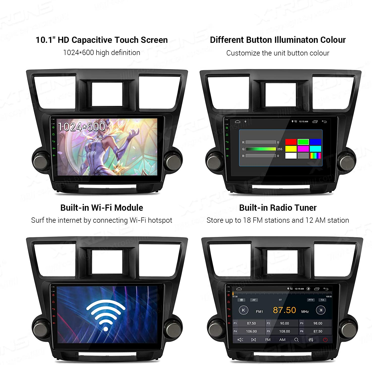 XTRONS Android 10.0 Car Stereo Radio Player 10.1 Inch IPS Touch Screen GPS Navigation Built-in DSP Bluetooth Head Unit Supports Full RCA Output Backup Camera WiFi OBD2 DVR TPMS for Toyota Highlander