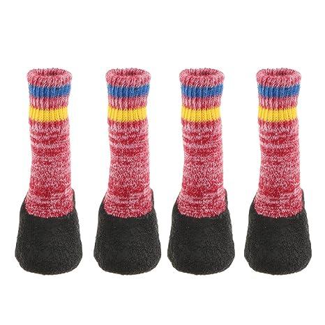 Baoblaze Calcetines de Perro Gato Impresión Zapatos para Mascotas Antideslizante Zócalo Desgaste Calienteto - Rojo,