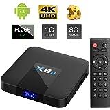 X8T Android 7.1 TV Box mit DDR3 Quad Core Arm Cortex-A53, 1GB RAM + 8GB EMCC, WI-Fi 802.11b/g/n Ethernet Standard RJ-45, 4K UHD - TICTID Smart TV Box