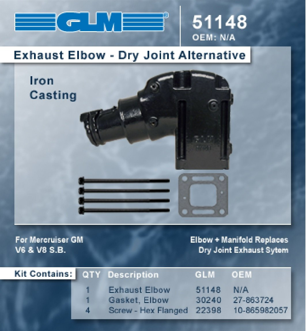 Mercruiser 262 305 350 454 502 4' Riser Elbow GLM 51148 Dry Joint Conversion GLM Marine