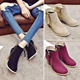 FORUU Fashion Round Toe High Thick Ankle Boots Side Zipper Mixed Colors Women Boots Black