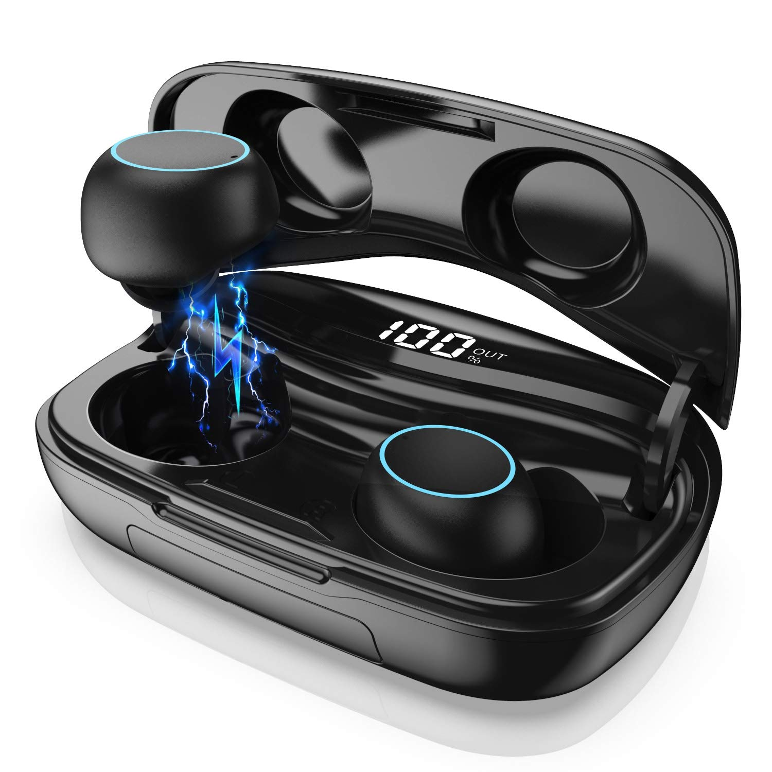 Wireless Earbuds, Bluetooth 5.0 Wireless Headphones with 3500mAh Charging Case LED Battery Display 60H Playtime, Smart Touch, IPX7 Waterproof Wireless Earphones in-Ear Built-in Mic Headsets for Sport by Gixvdcu