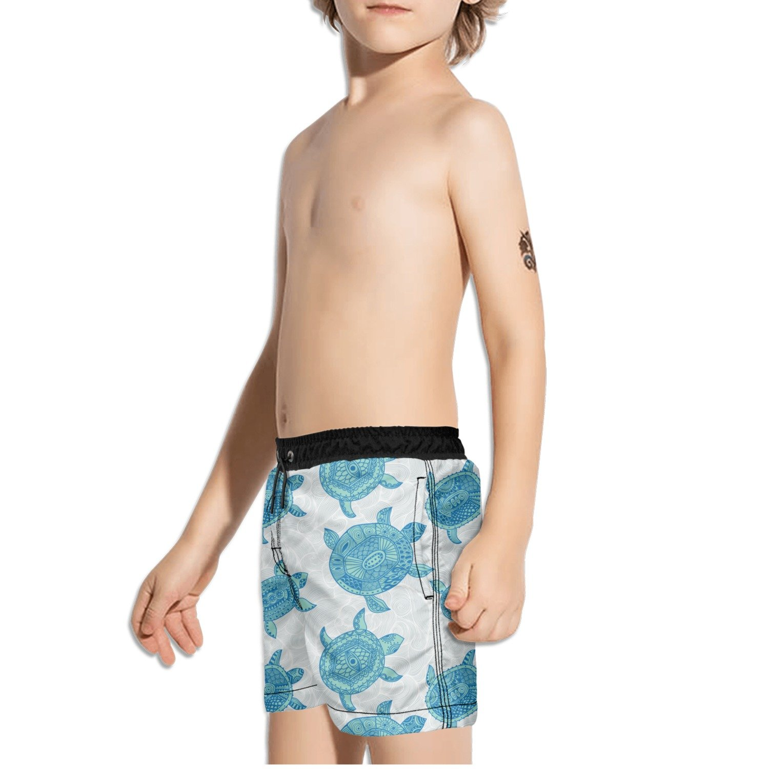 FullBo Turtles and Wave Pattern Little Boys Short Swim Trunks Quick Dry Beach Shorts
