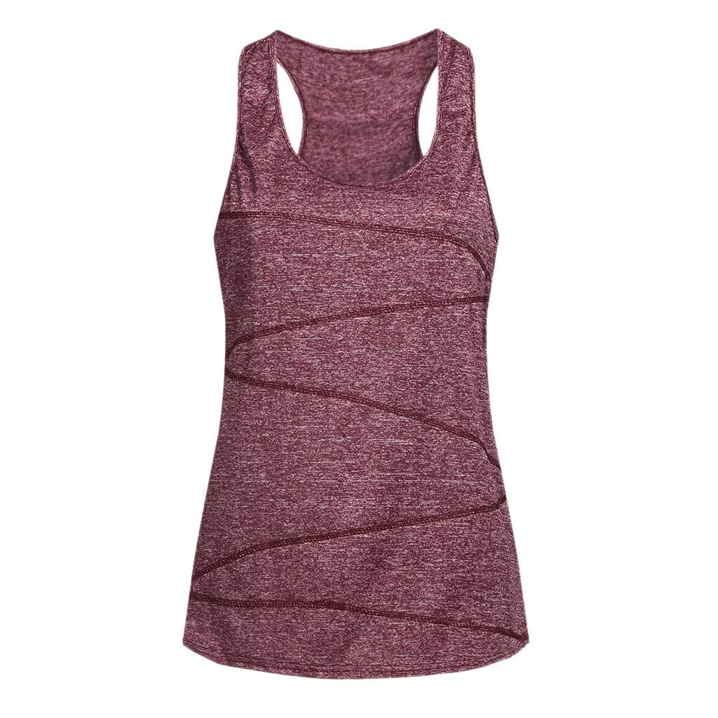 Women Sleeveless Yoga Top Knitting Yarn Activewear Running Vest Workout Shirt Racer Back Tunic Cami Tank Red by iLUGU (Image #1)