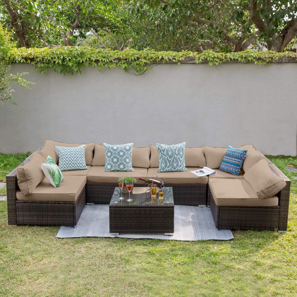 Amazon.com: Tribesigns 7 PCS Outdoor Patio Furniture ...