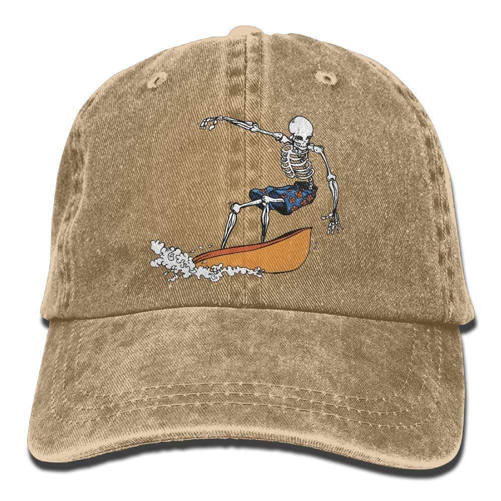 2018 Adult Fashion Cotton Denim Baseball Cap Skeleton Surfing Classic Dad Hat Adjustable Plain Cap JTRVW Cowboy Hats
