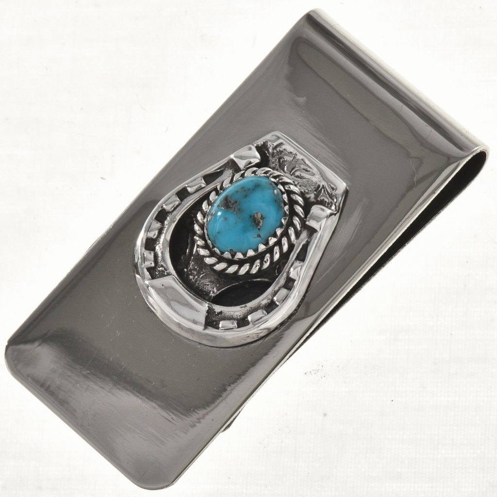 Turquoise Silver Western Money Clip Navajo Horseshoe Pattern 1638