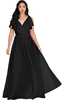 eca3bd5030f KOH KOH Womens Long V-Neck Ruffle Sleeveless Bridesmaid Prom Gown Maxi Dress