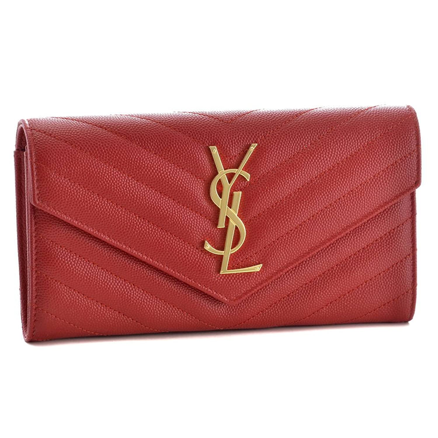 (サンローラン パリ) SAINT LAURENT PARIS 財布 長財布 372264 BOW01 6422 NEW RED 【MONOGRAMME】 [並行輸入品] B074Z2PK21