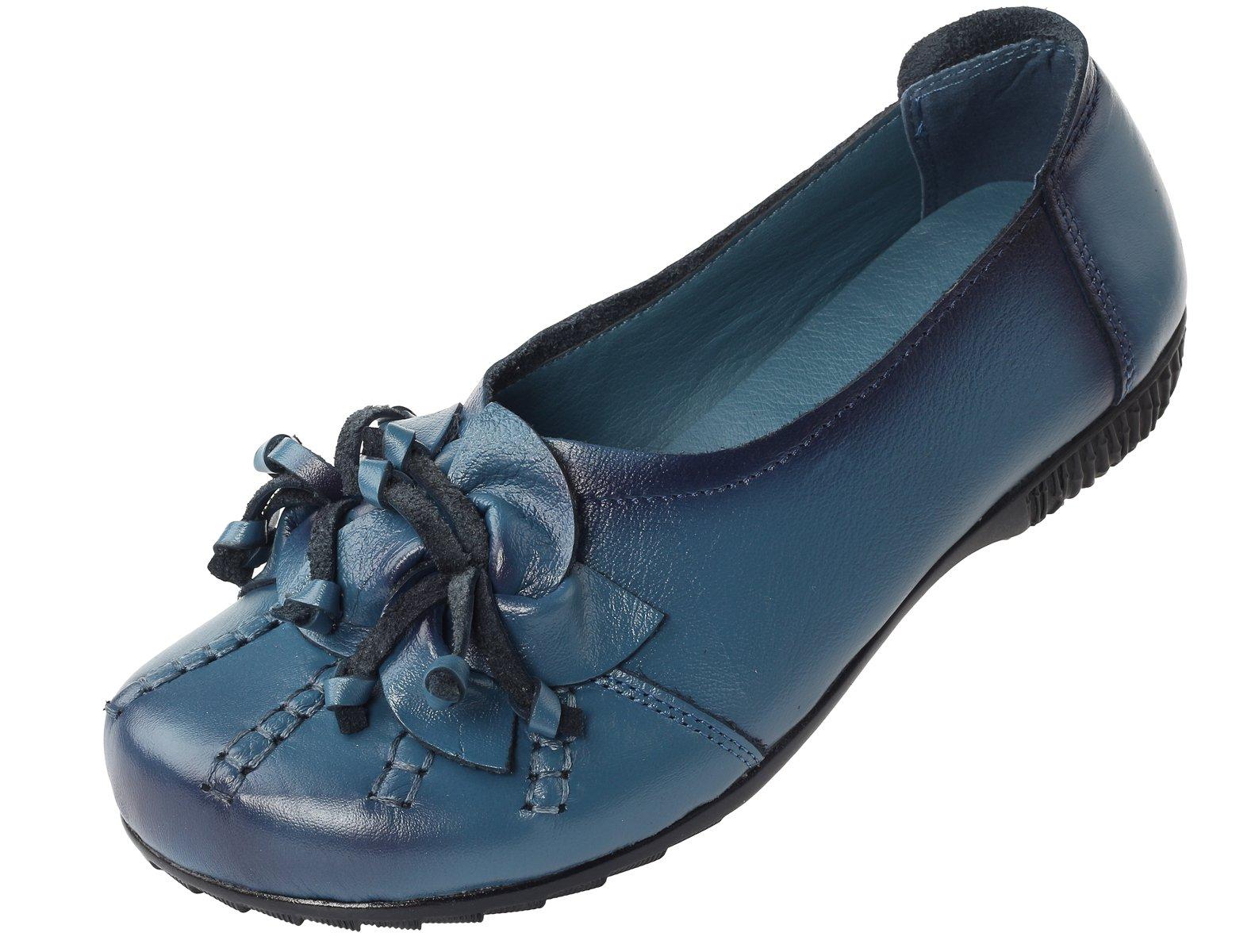 Mordenmiss Women's Fall New Flat Flower Pattern Shoes Style 4-40-Blue