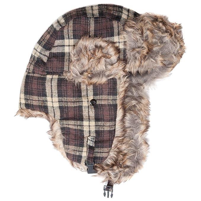 54c523f88c51a Accessoryo Unisex 58cm Brown Tartan Trapper Hat at Amazon Men s ...