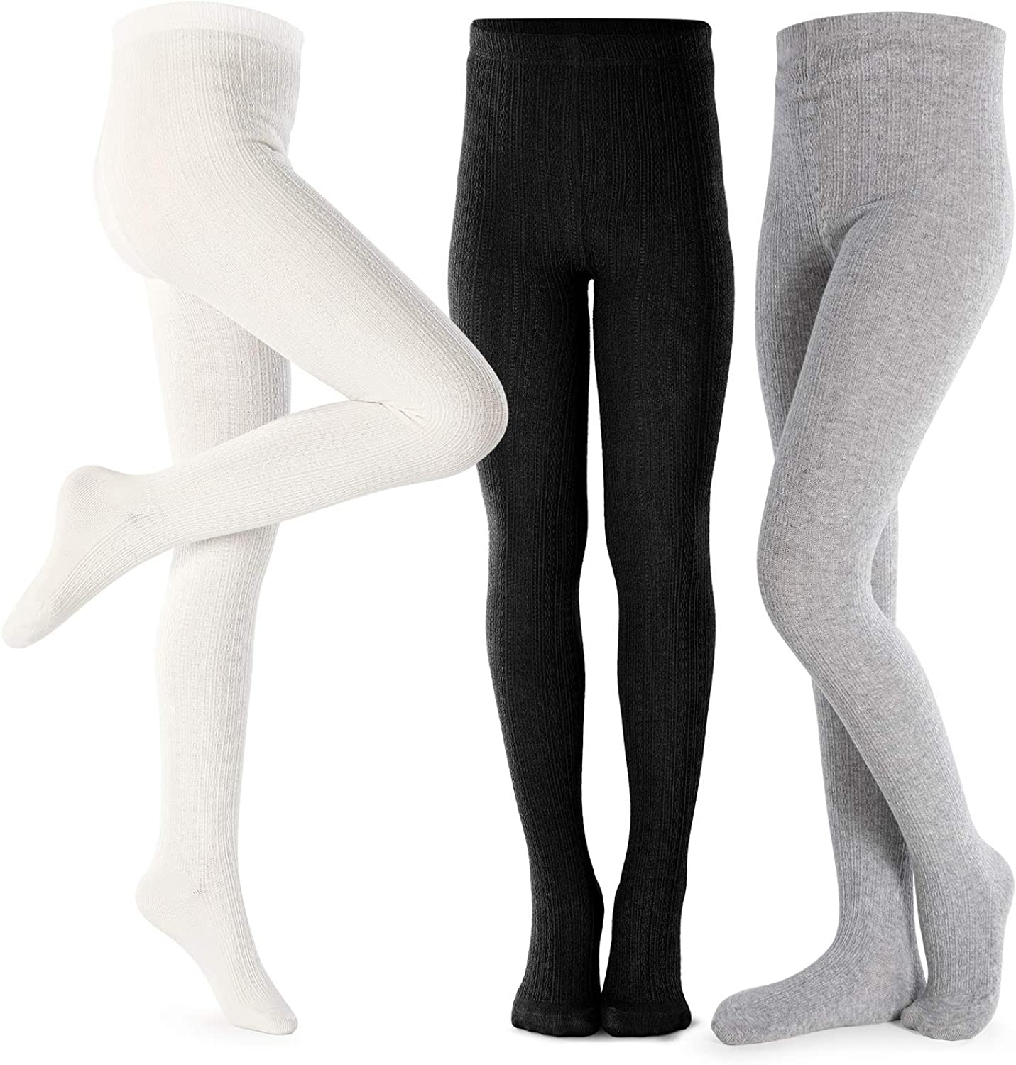 Girls Tights Toddler Cable Knit Cotton Footed Seamless Dance Ballet Baby Girls' Leggings 3 Pack: Clothing